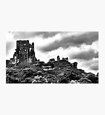 Corfe Castle, Purbeck Hills, Dorset, in black & white (zoom large) Photographic Print