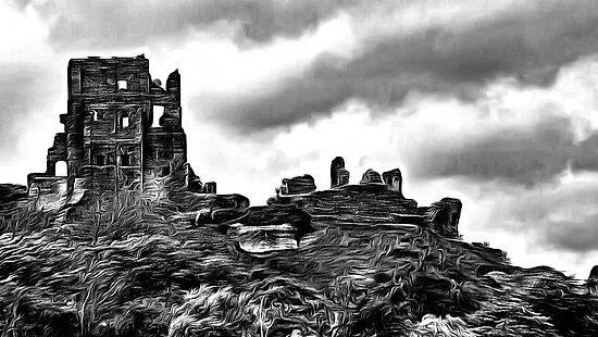 Corfe Castle, Purbeck Hills, Dorset, in black & white (zoom large) by Dennis Melling