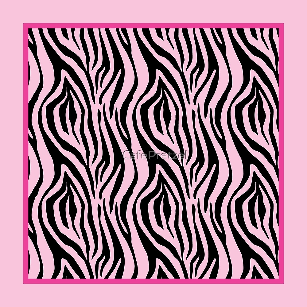 Preppy Pink Zebra Stripes Pattern by CafePretzel