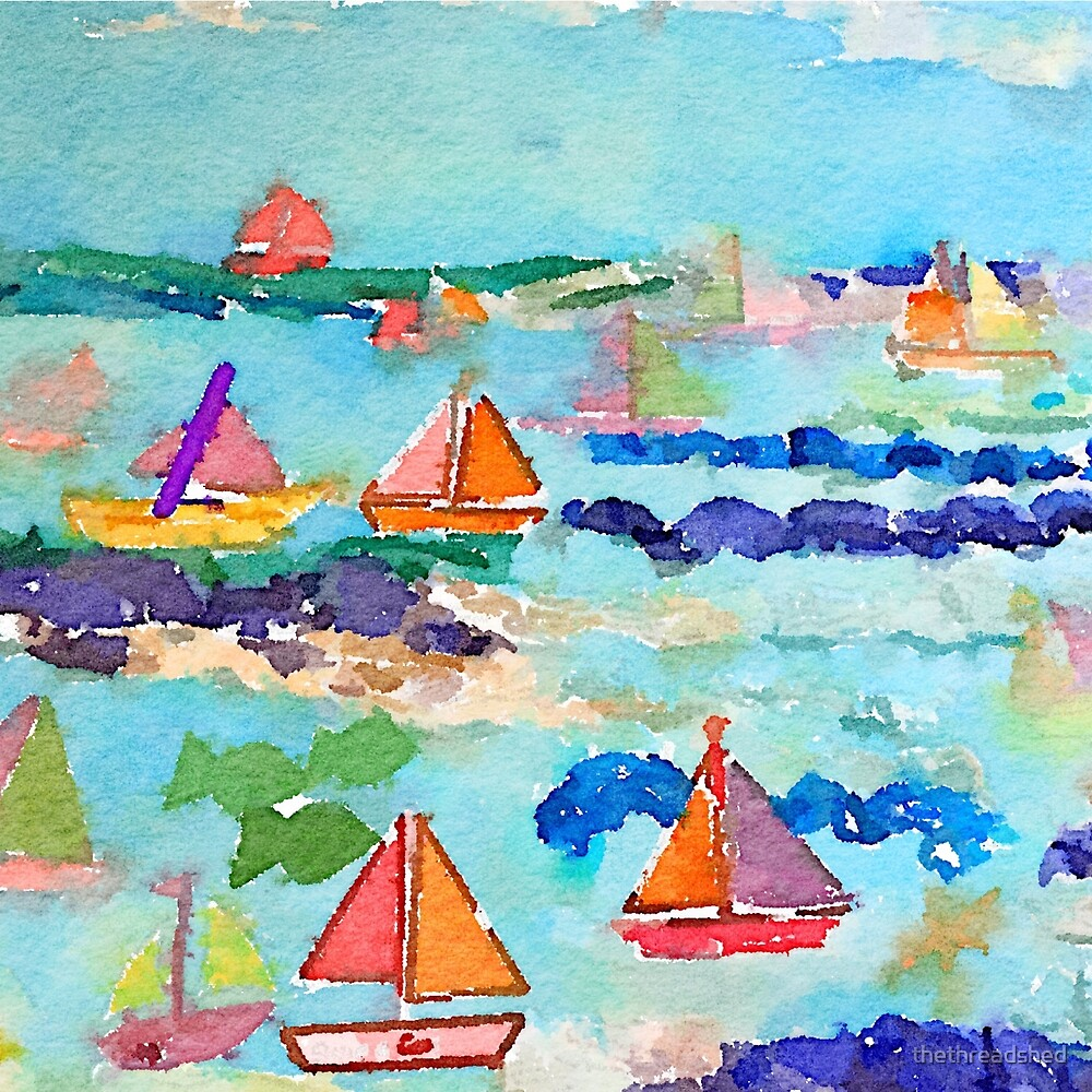 Sailboat Watercolour  by thethreadshed