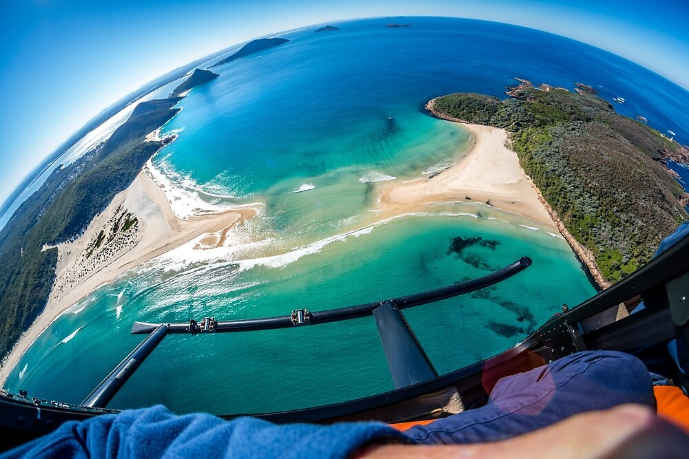 Helicopter Over Port Stephens by Russell Charters