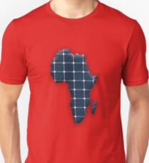 Map of the African continent with photovoltaic solar panels.  Unisex T-Shirt