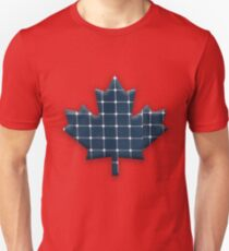 Canadian maple leaf with photovoltaic solar panels. Unisex T-Shirt