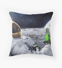 Space Beer Throw Pillow