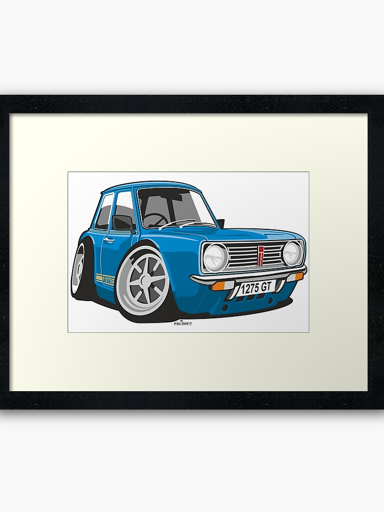 Mini Clubman 1275gt Caricature Blue Framed Art Print By Car2oonz