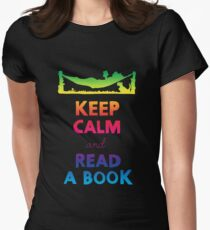 KEEP CALM AND READ A BOOK (RAINBOW) Womens Fitted T-Shirt