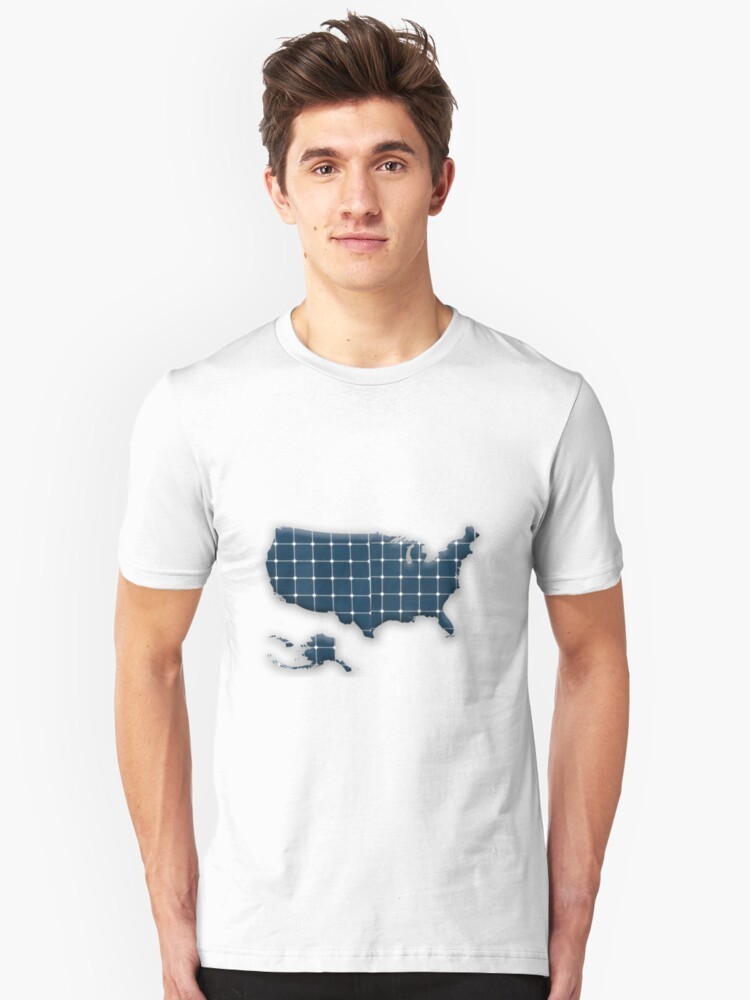 Map of the USA with photovoltaic solar panels.  Unisex T-Shirt Front