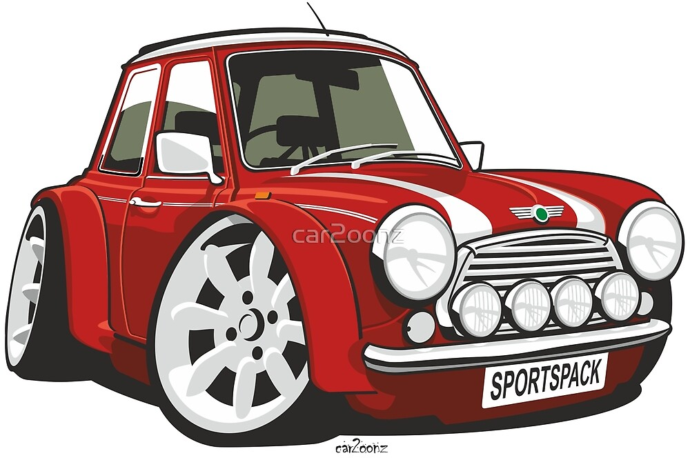 Rover Mini Sportspack caricature red by car2oonz