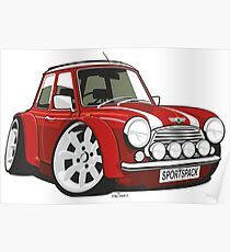 Rover Mini Sportspack caricature red Poster