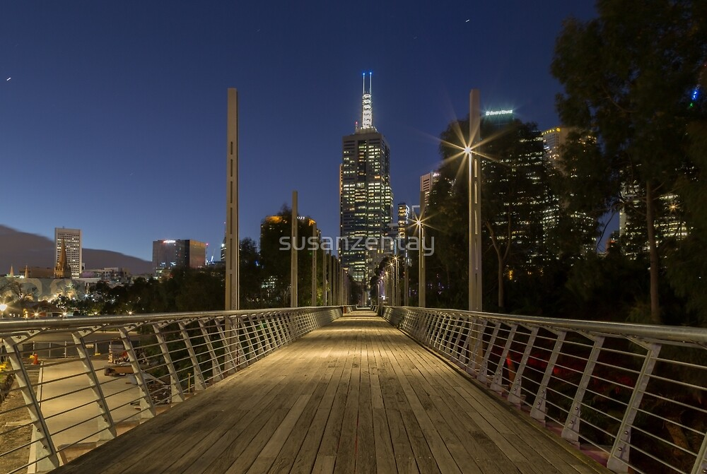 Melbourne's Birrarung Marr Pedestrian Bridge at night by susanzentay