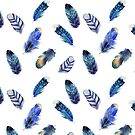 Feathers, beautiful colourful collection in watercolour in blues - cute bold animal print design, classic statement fashion clothing, soft furnishings and home decor  by Sandra O'Connor