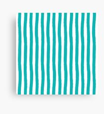 Preppy Turquoise and White Cabana Stripes Canvas Print