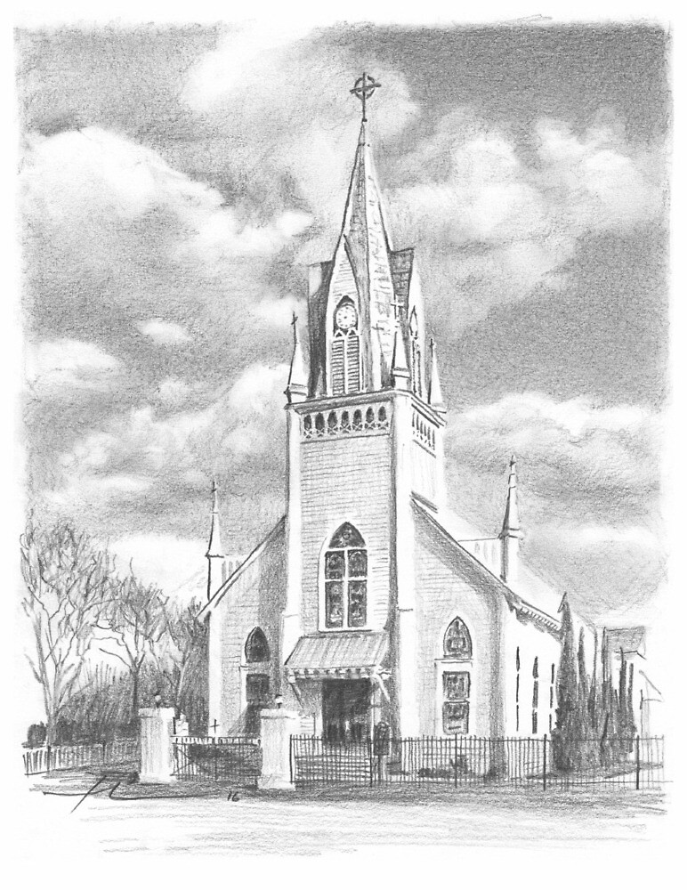 texas church drawing by Mike Theuer