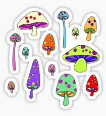 Technicolor Mushrooms  Sticker