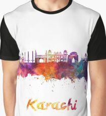 Karachi skyline in watercolor Graphic T-Shirt