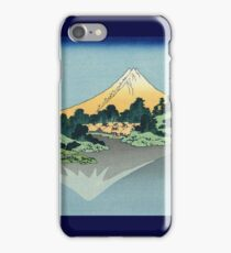 Hokusai Katsushika - Mount Fuji reflects in Lake Kawaguchi, seen from the Misaka Pass in Kai Province iPhone Case/Skin
