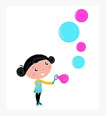 Little girl blowing bubbles - cartoon Vector illustration Photographic Print