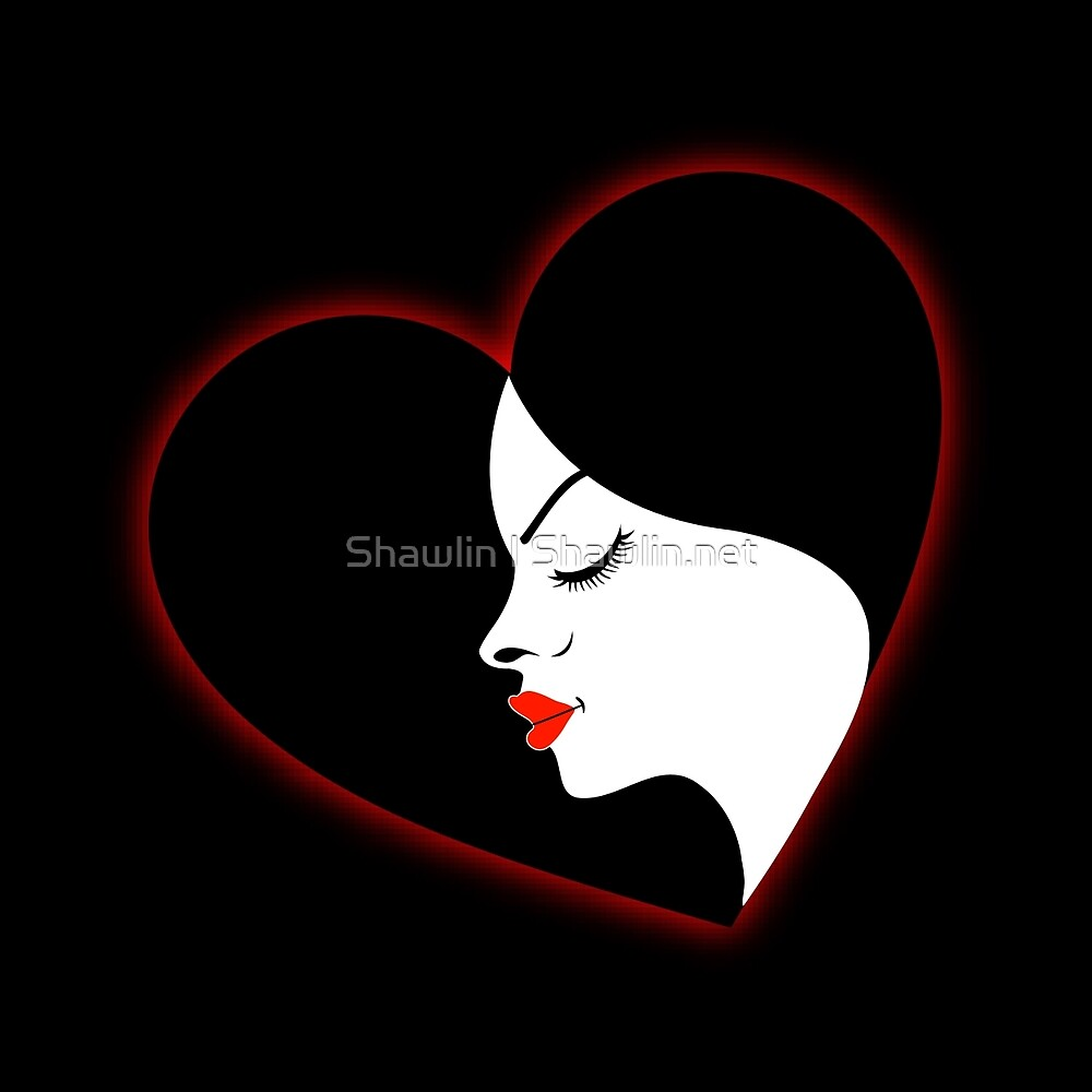 A beautiful girl in a red glowing heart  by Shawlin Mohd