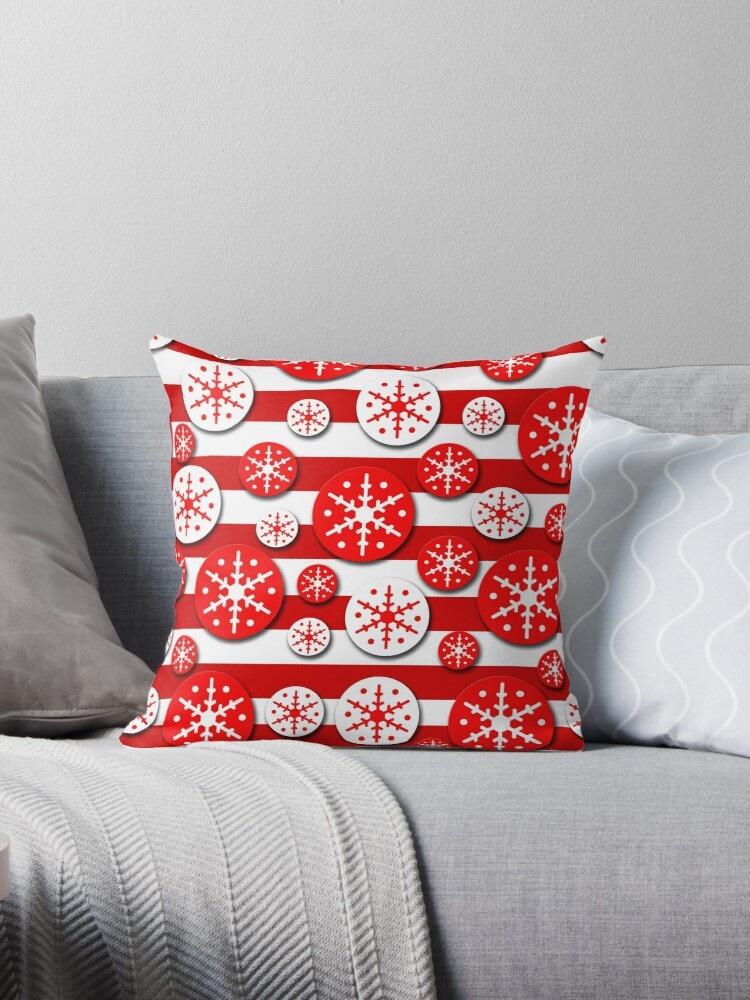 Snowflakes pattern - white and red by ValentinaHramov