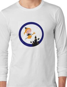 Cute Witch girl flying around Halloween haunted castle Long Sleeve T-Shirt
