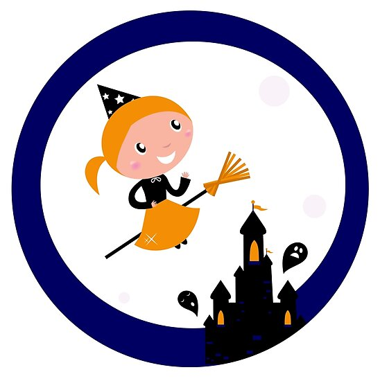 Cute Witch girl flying around Halloween haunted castle by Bee and Glow Illustrations Shop