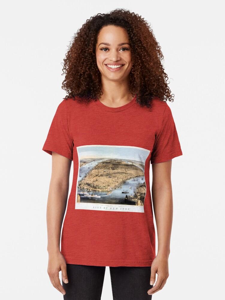 Vista alternativa de Camiseta de tejido mixto Nueva York Vintage Vista aérea restaurada 1856