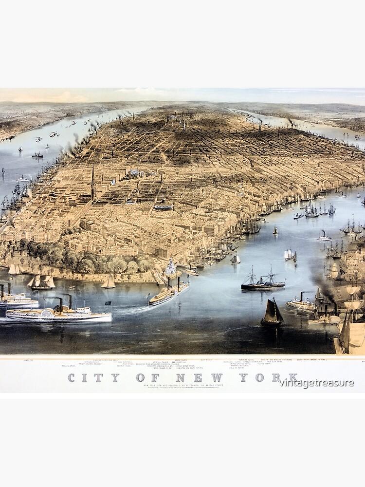 Nueva York Vintage Vista aérea restaurada 1856 de vintagetreasure