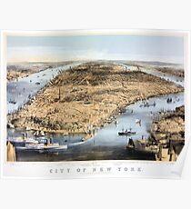 Póster Nueva York Vintage Vista aérea restaurada 1856