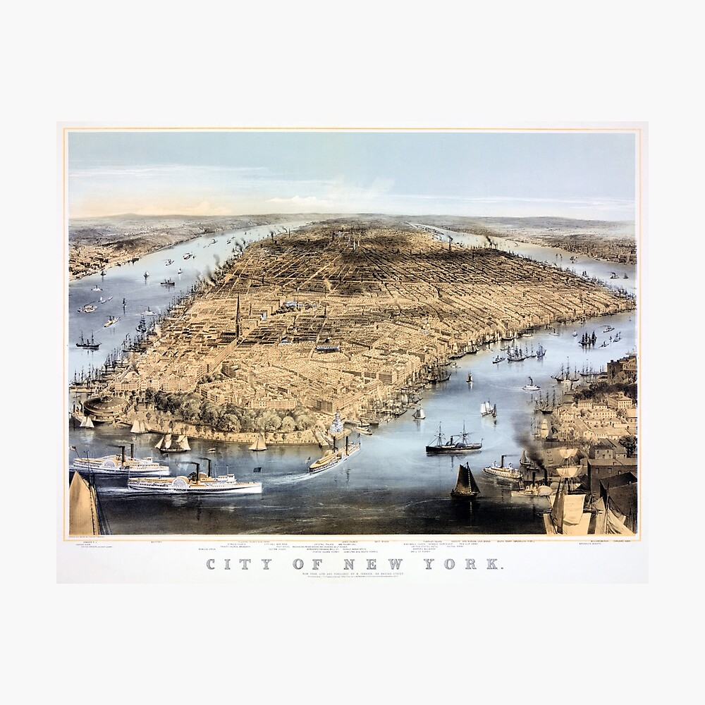 Nueva York Vintage Vista aérea restaurada 1856 Lámina fotográfica