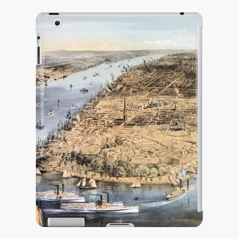 Nueva York Vintage Vista aérea restaurada 1856 Funda y vinilo para iPad