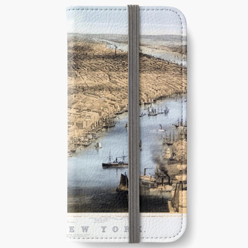 Nueva York Vintage Vista aérea restaurada 1856 Fundas tarjetero para iPhone