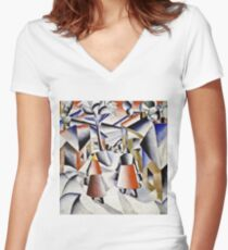 Kazimir Malevich - Morning In The Village After Snowstorm  Women's Fitted V-Neck T-Shirt