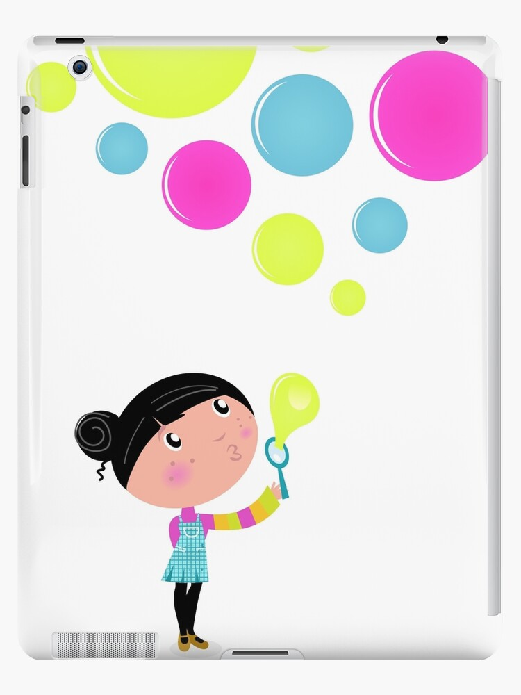 Little Girl blowing Soap bubbles by Bee and Glow Illustrations Shop