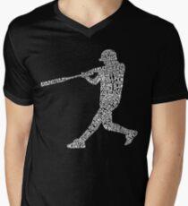 Baseball Softball Player Calligram Men's V-Neck T-Shirt