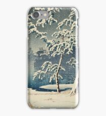 Kawase Hasui - Senzoku Pond In Snow iPhone Case/Skin