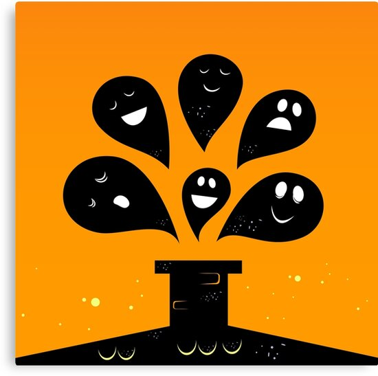Collection of vector stylized Ghost creatures by Bee and Glow Illustrations Shop