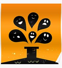Collection of vector stylized Ghost creatures Poster