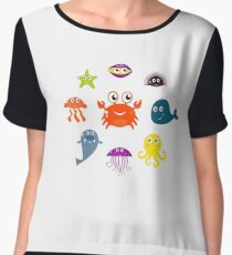 Underwater creatures and animals set Chiffon Top