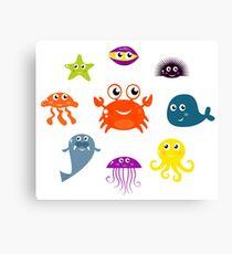 Underwater creatures and animals set Canvas Print