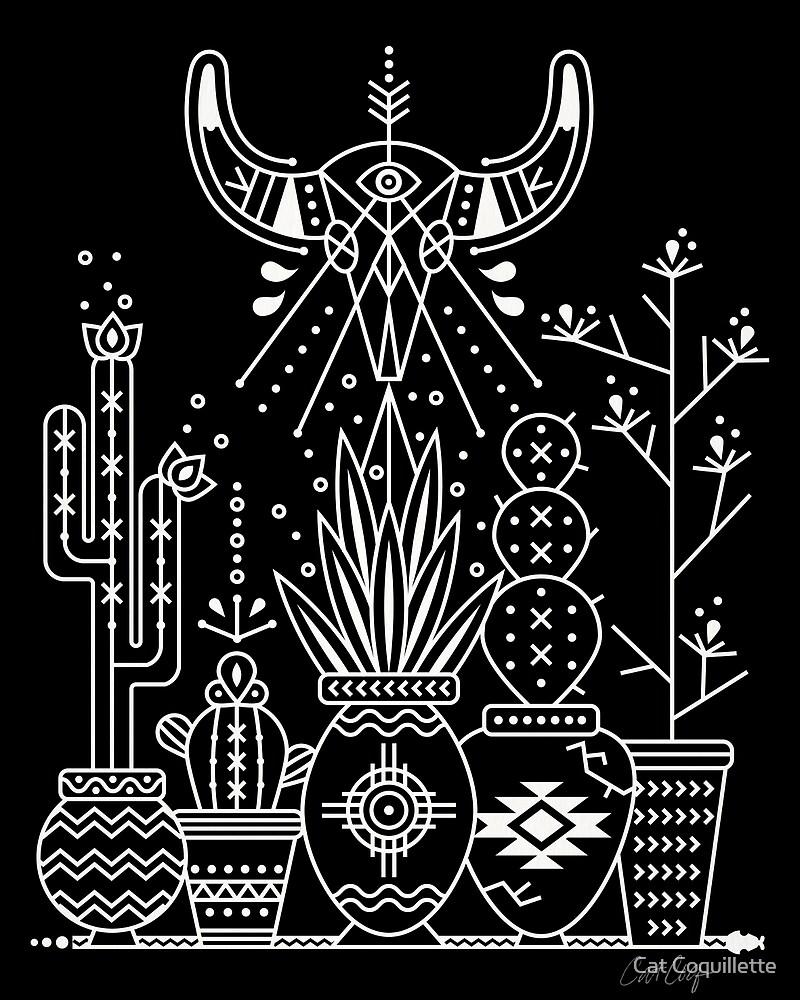 Santa Fe Garden – White Ink on Black by Cat Coquillette