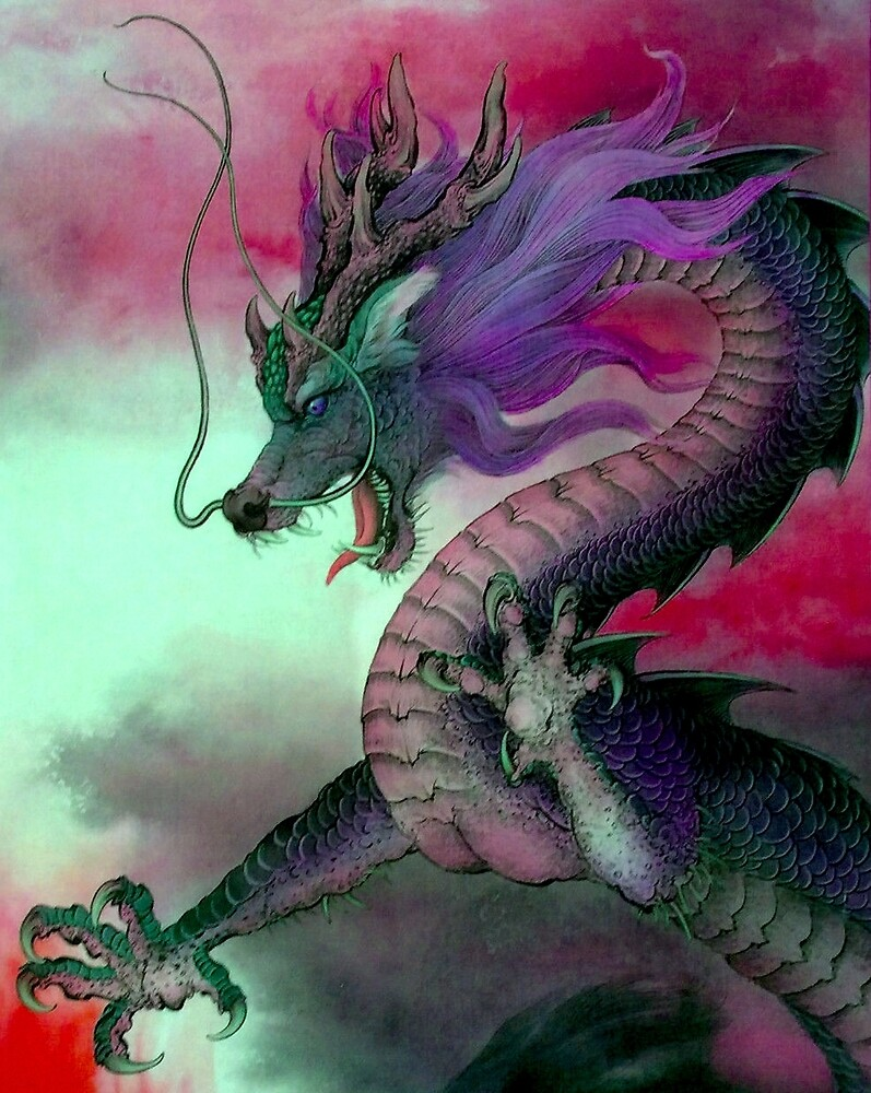 CHINESE DRAGON; Vintage Oriental Art Print by posterbobs