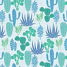 Cactus Garden Blue and Green by SpiceTree