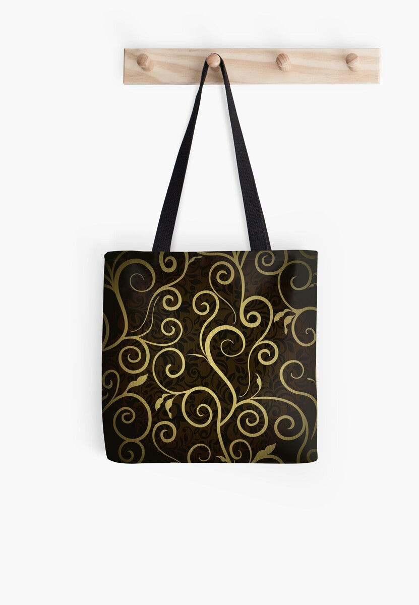 Gold scroll,swirl,wavy,floral,on brown background,trendy,modern,elegant,chic by love999