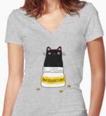 FUR ANTIDEPRESSANT Tailliertes T-Shirt mit V-Ausschnitt