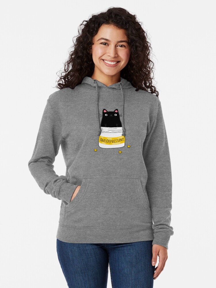 Alternate view of FUR ANTIDEPRESSANT . Cute black cat illustration. A gift for a pet lover. Lightweight Hoodie
