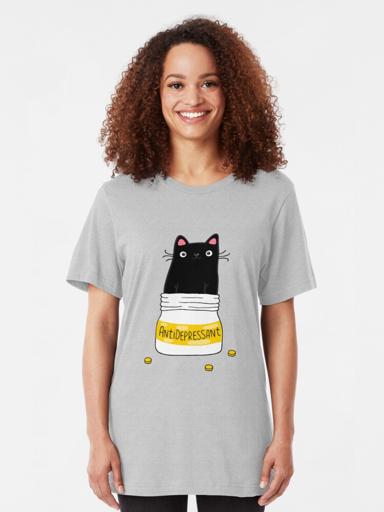 Alternate view of FUR ANTIDEPRESSANT . Cute black cat illustration. A gift for a pet lover. Slim Fit T-Shirt