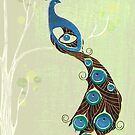 Peacock in green by Zsuzsa Goodyer