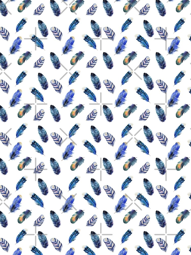 Small feathers, beautiful colourful collection in watercolour in blues - cute bold animal print design, classic statement fashion clothing, soft furnishings and home decor  by Mindreader