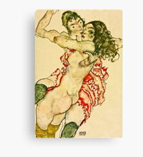 Egon Schiele - Two Women Embracing (1915)  Canvas Print