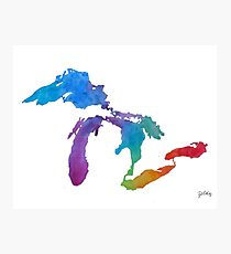 Great Lakes Watercolor #1 Photographic Print